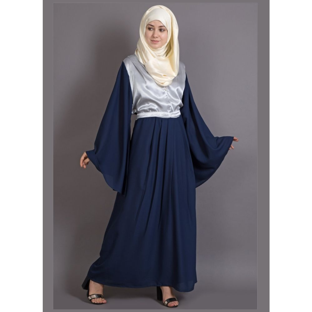 Womens Abaya Silver  & Blue Color Daily wear