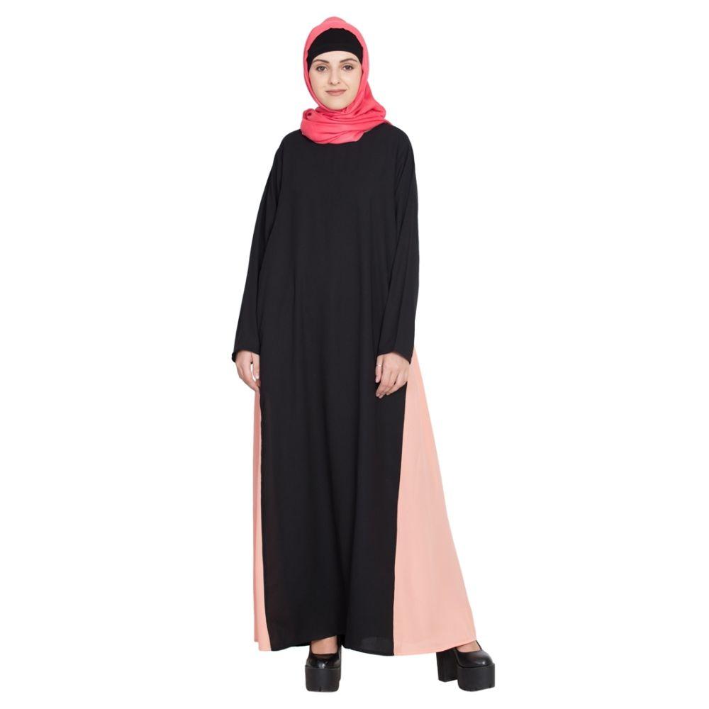 Womens Abaya Black & Orange Color Attractive