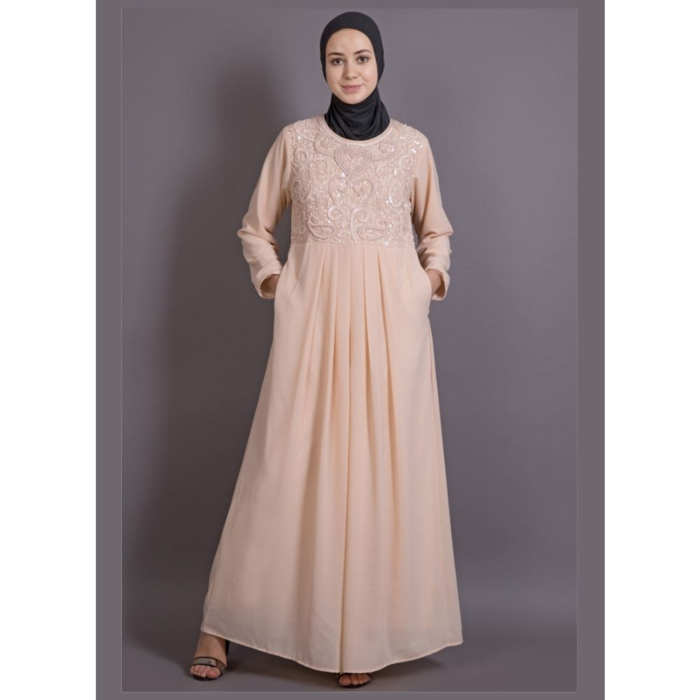 Womens Abaya Orange Color Embroidery wear