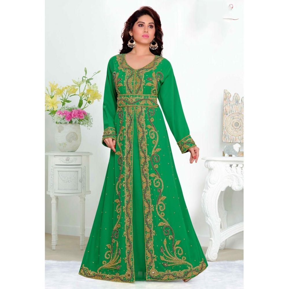 Green color-Georgette Kaftan