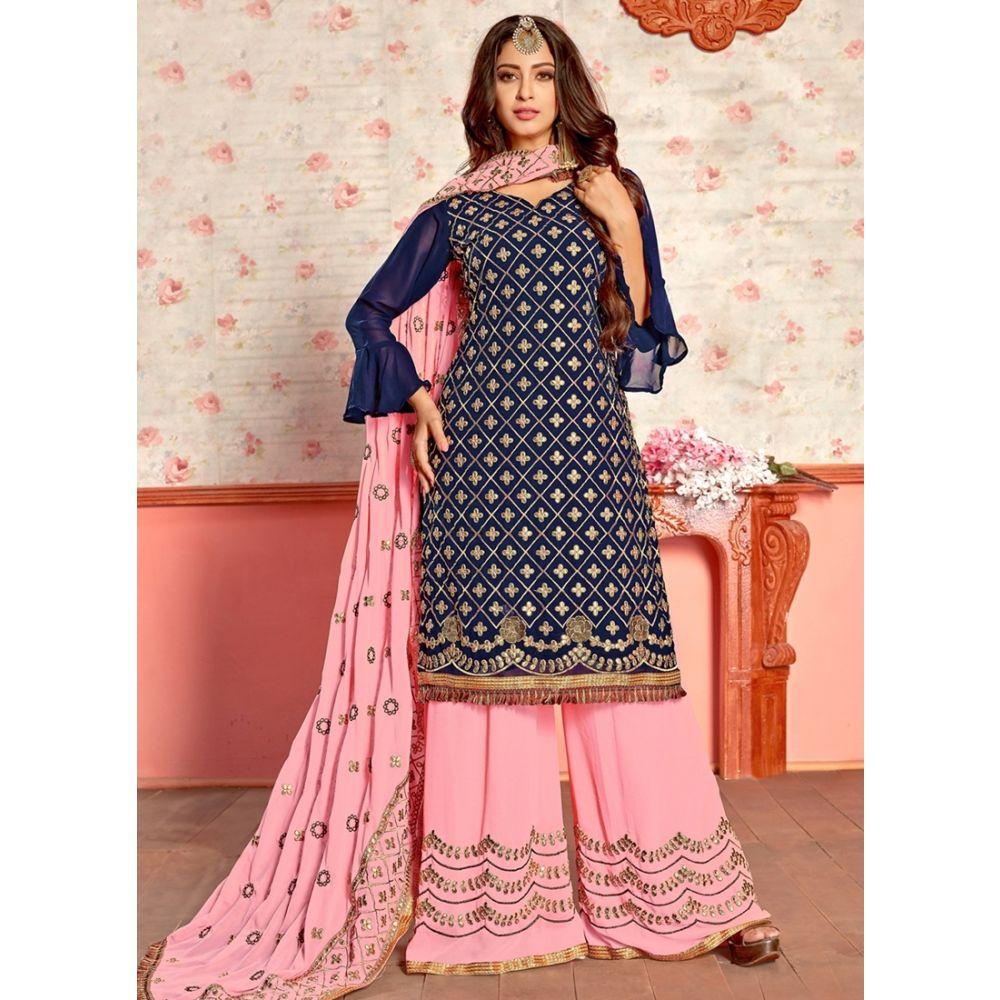 Blue color Patti Work-Georgette Salwar Kameez