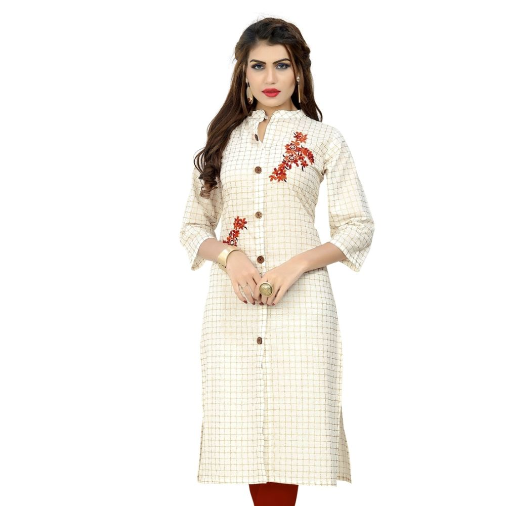 Women Ready Made Kurti White Color Cotton