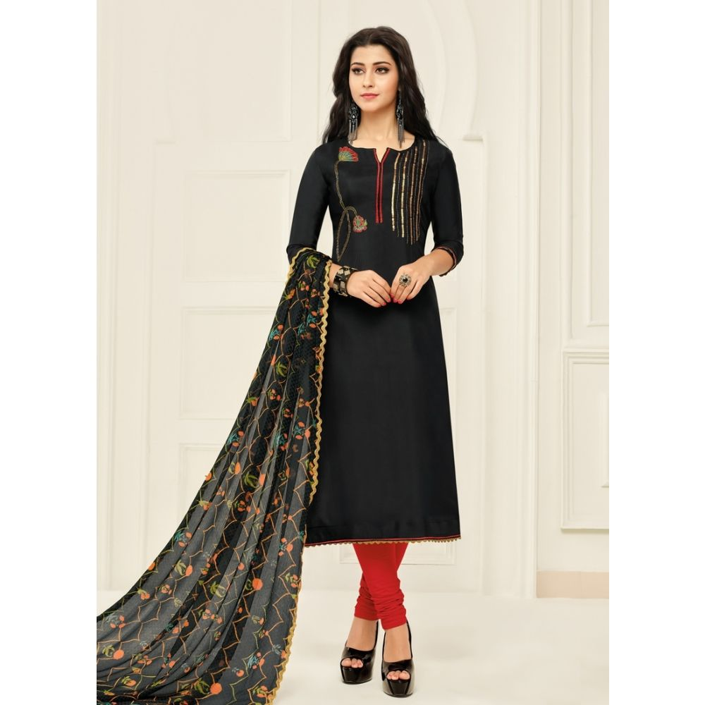 Women Salwar Kameez Black Color Casual