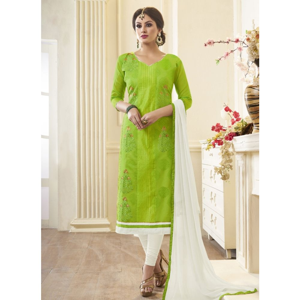 Women Salwar Kameez Green Color Cotton