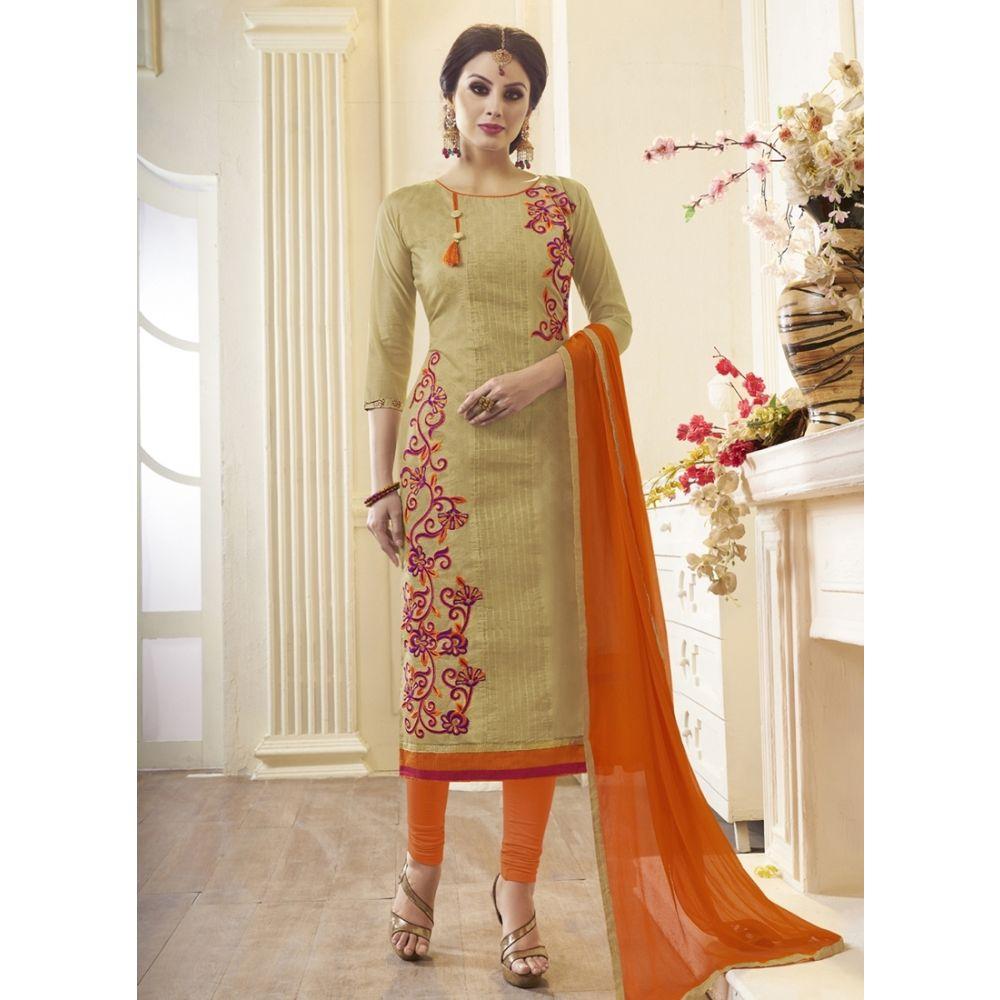 Women Salwar Kameez Biege Color Cotton