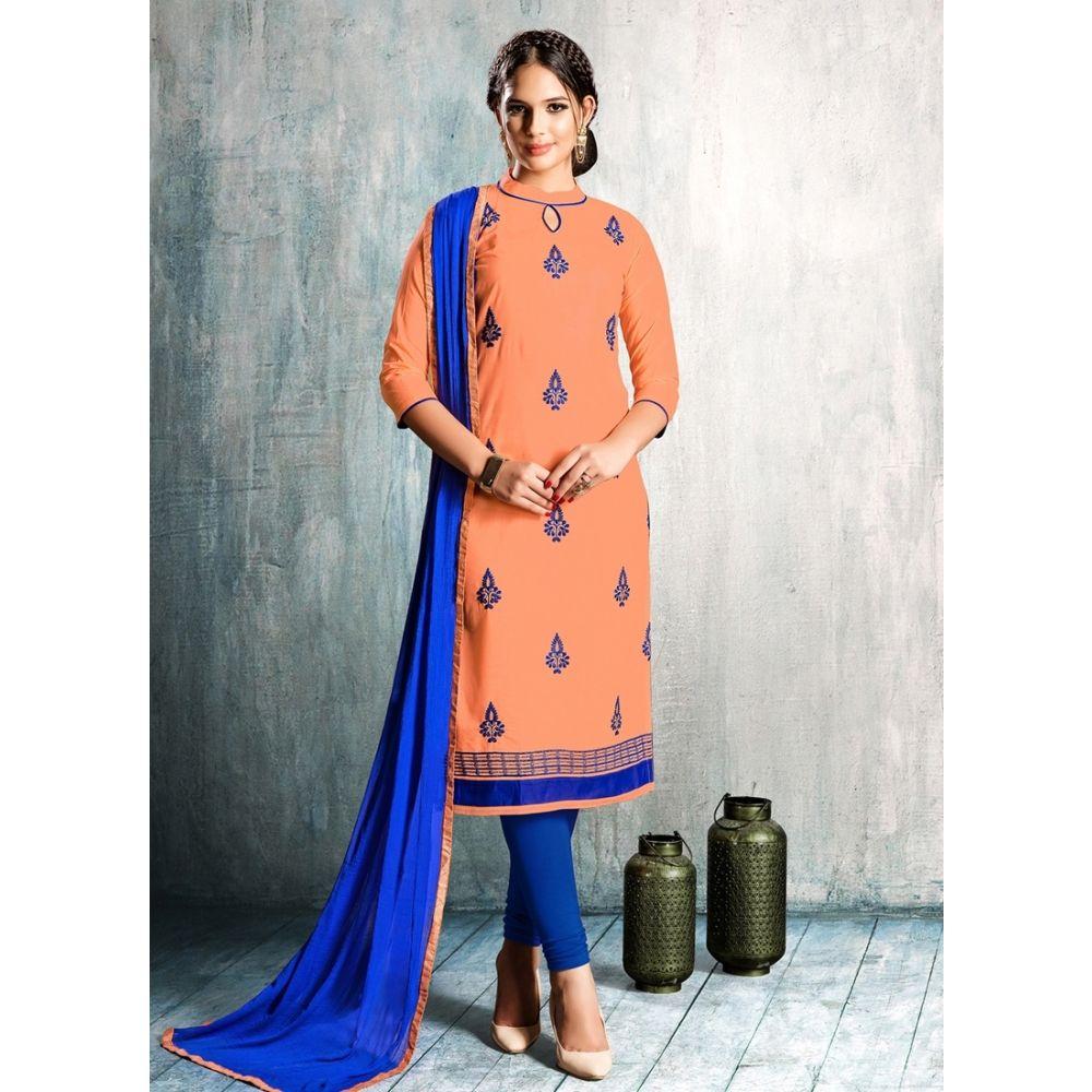 Women Salwar Kameez Orange Color Cotton