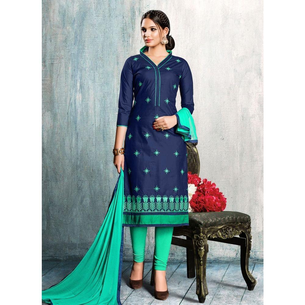 Women Salwar Kameez Blue Color Cotton