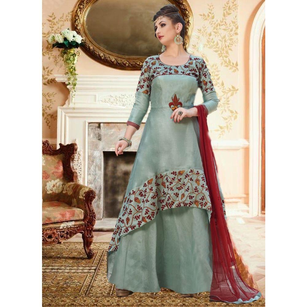 Women Gown Satin Grey color Designer