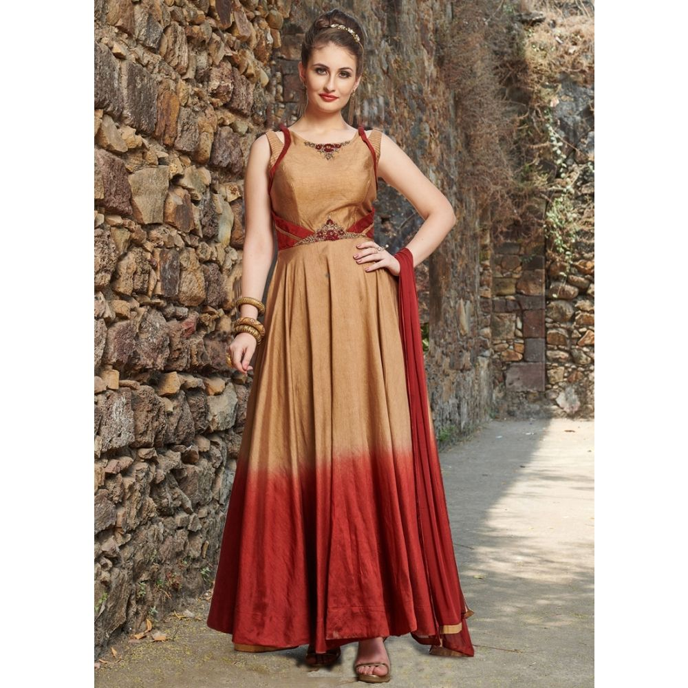 Women Gown Satin Gold and Red color Designer