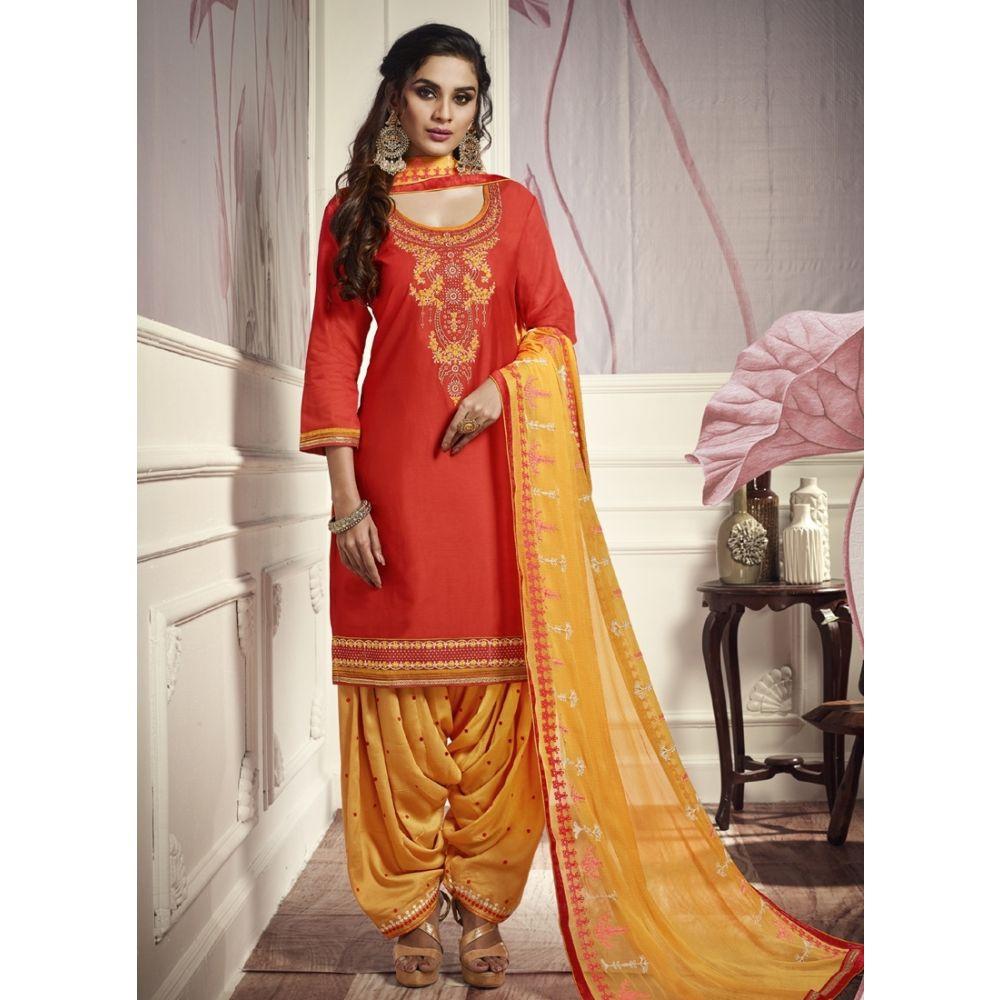 Women Salwar Kameez Orange color Patiyala Suita