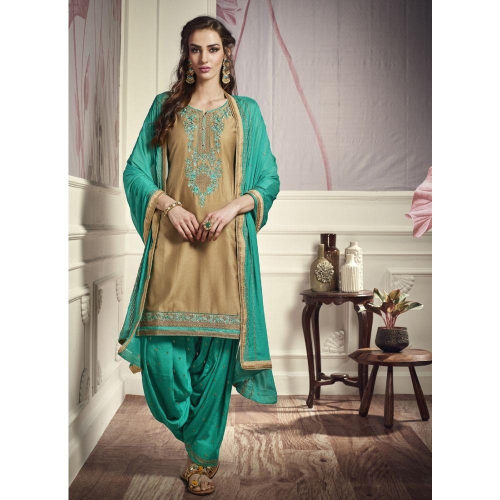 Women Salwar Kameez Gold color Patiyala Suita