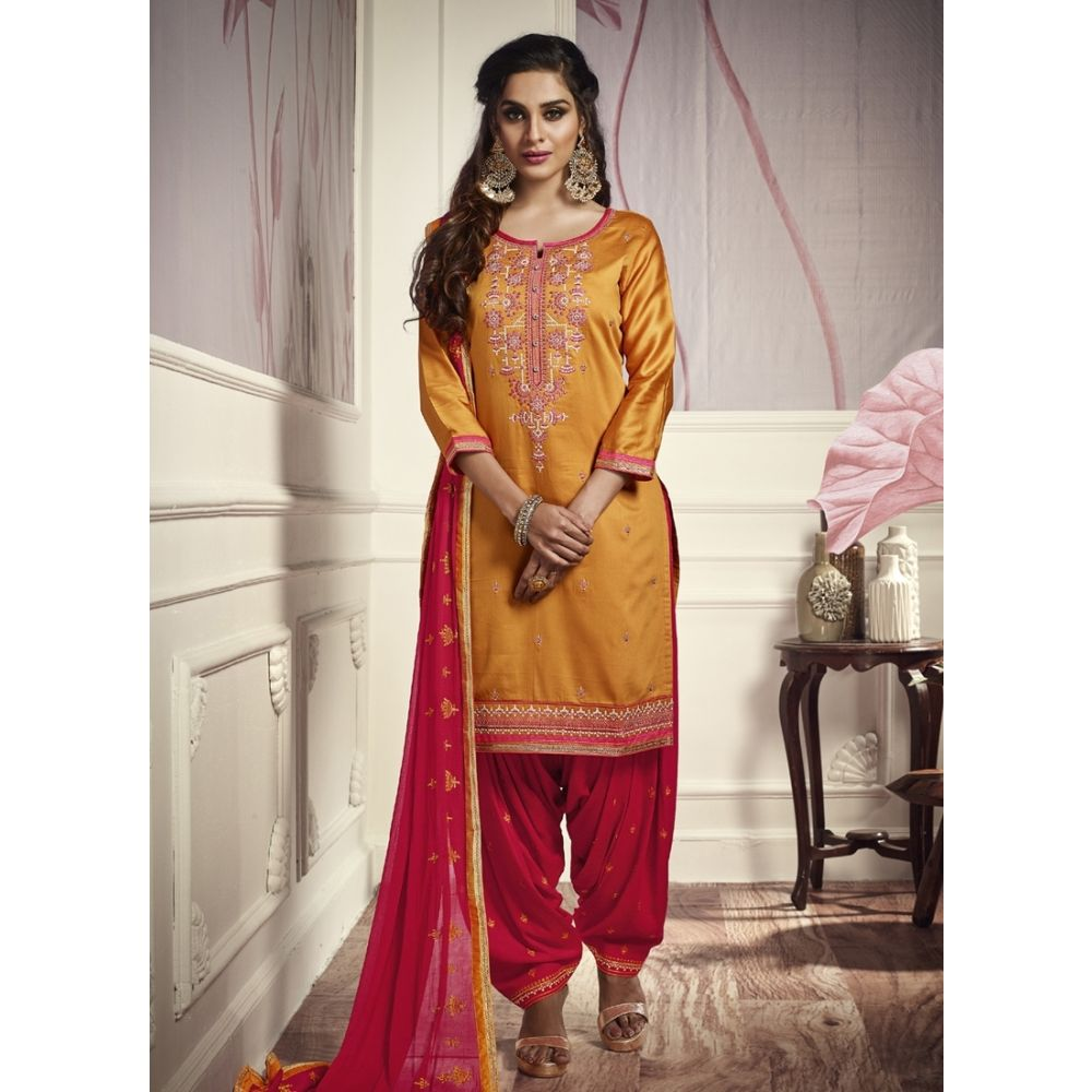 Women Salwar Kameez Yellow color Patiyala Suita