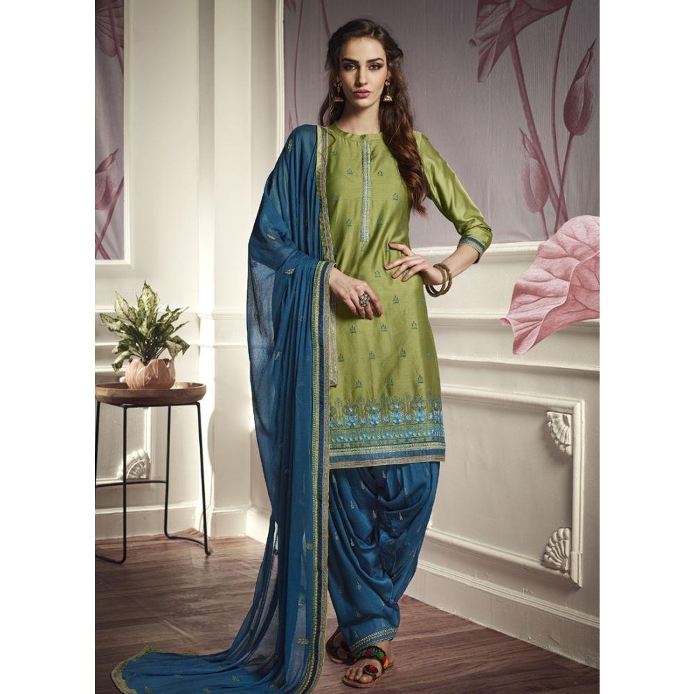 Women Salwar Kameez Green color Patiyala Suita