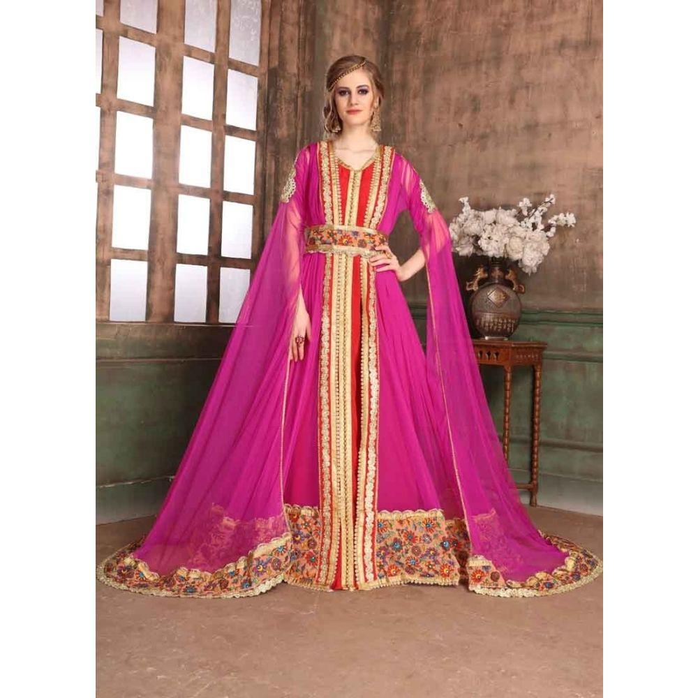 Pink and Red color Kaftan-Net Kaftan