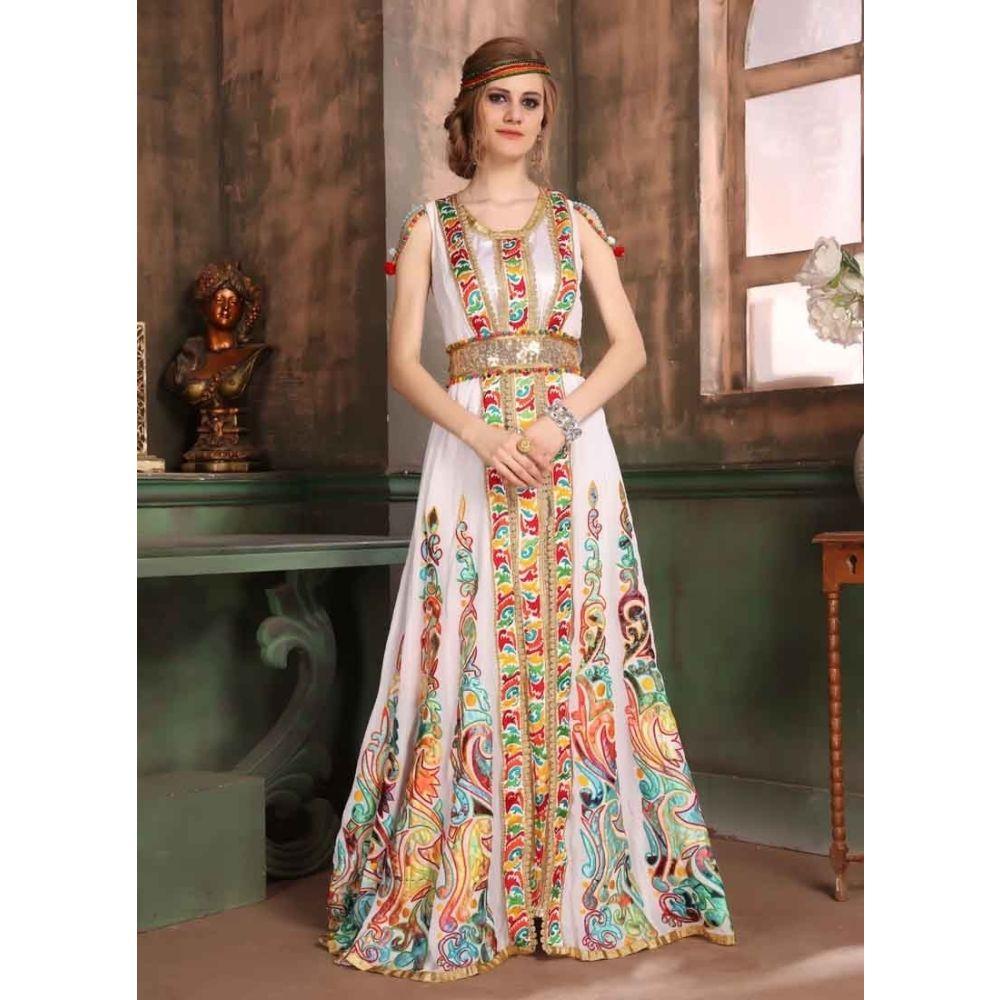 White and Multicoloured color Kaftan-Georgette Kaftan
