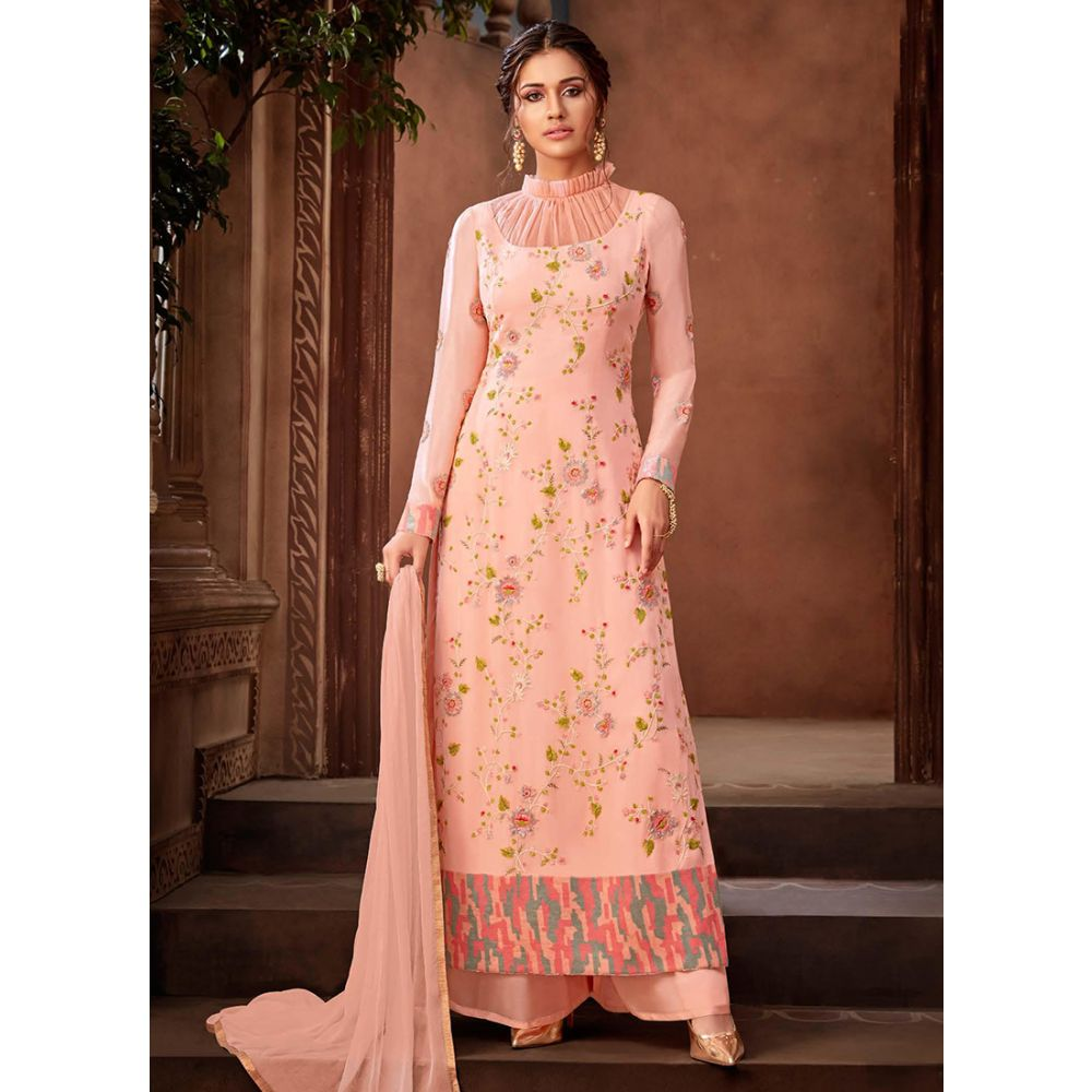 Elaborate Baby Pink Party Wear Plazzo Suit