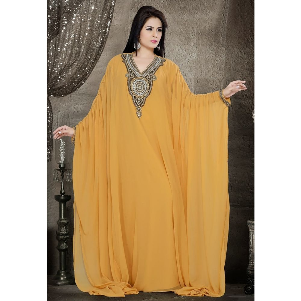 Womens Kaftan Yellow color Saudi Arabic style