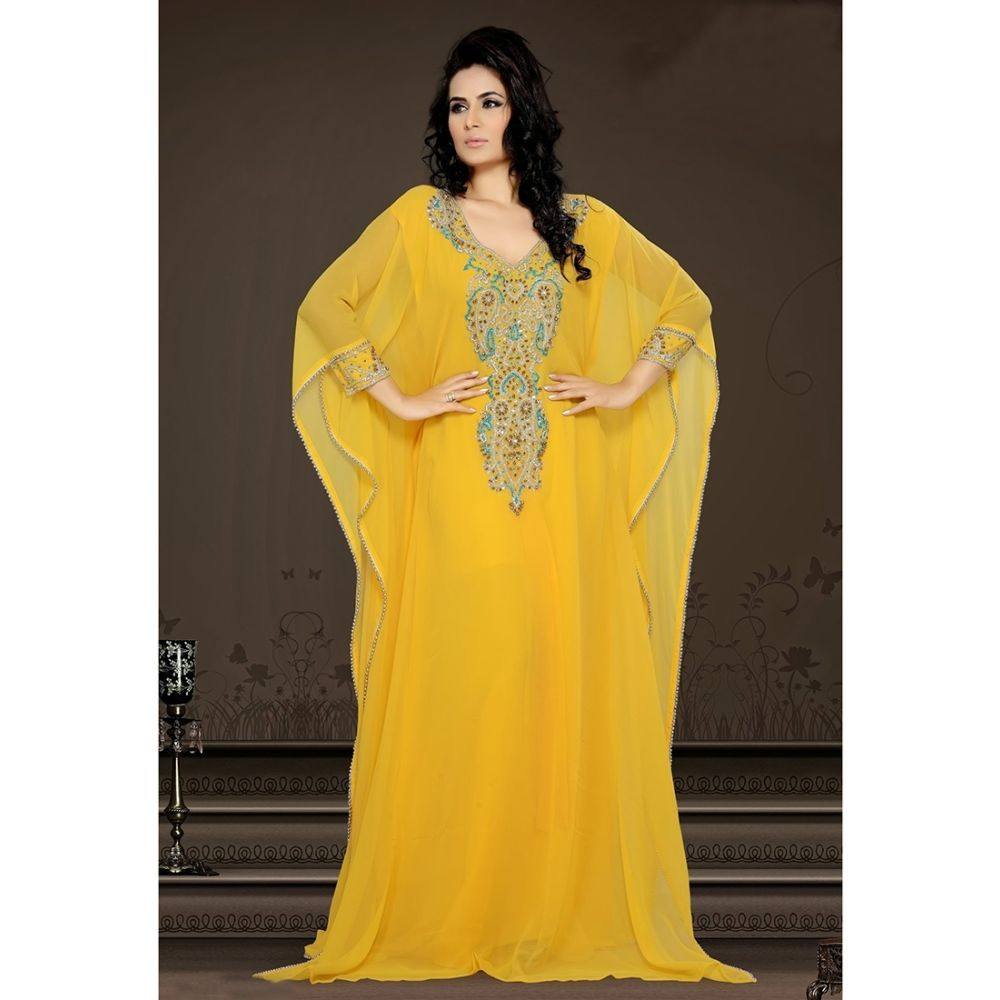 Womens Kaftan Yellow color Modern Style