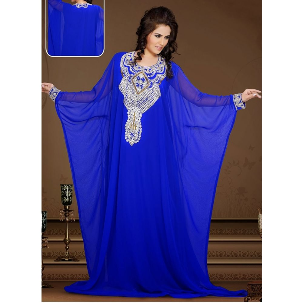 Womens Kaftan Blue color Designer wear