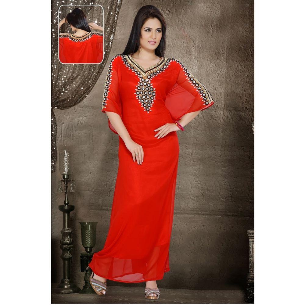 Womens Kaftan Red color Saudi Arabic style