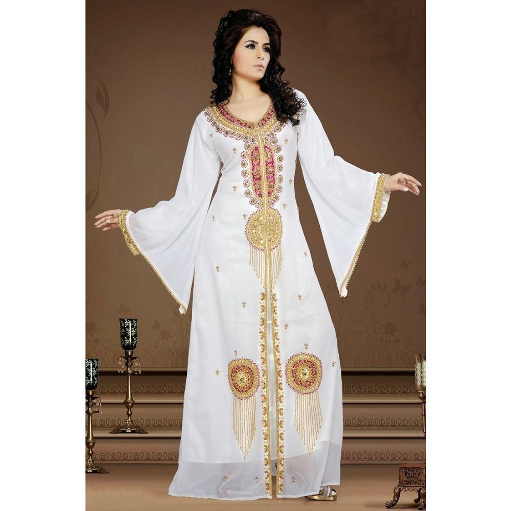 Womens Kaftan White color Long Partywear