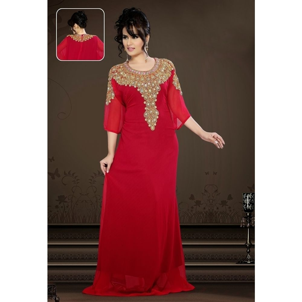 Womens Kaftan Red color Partywear