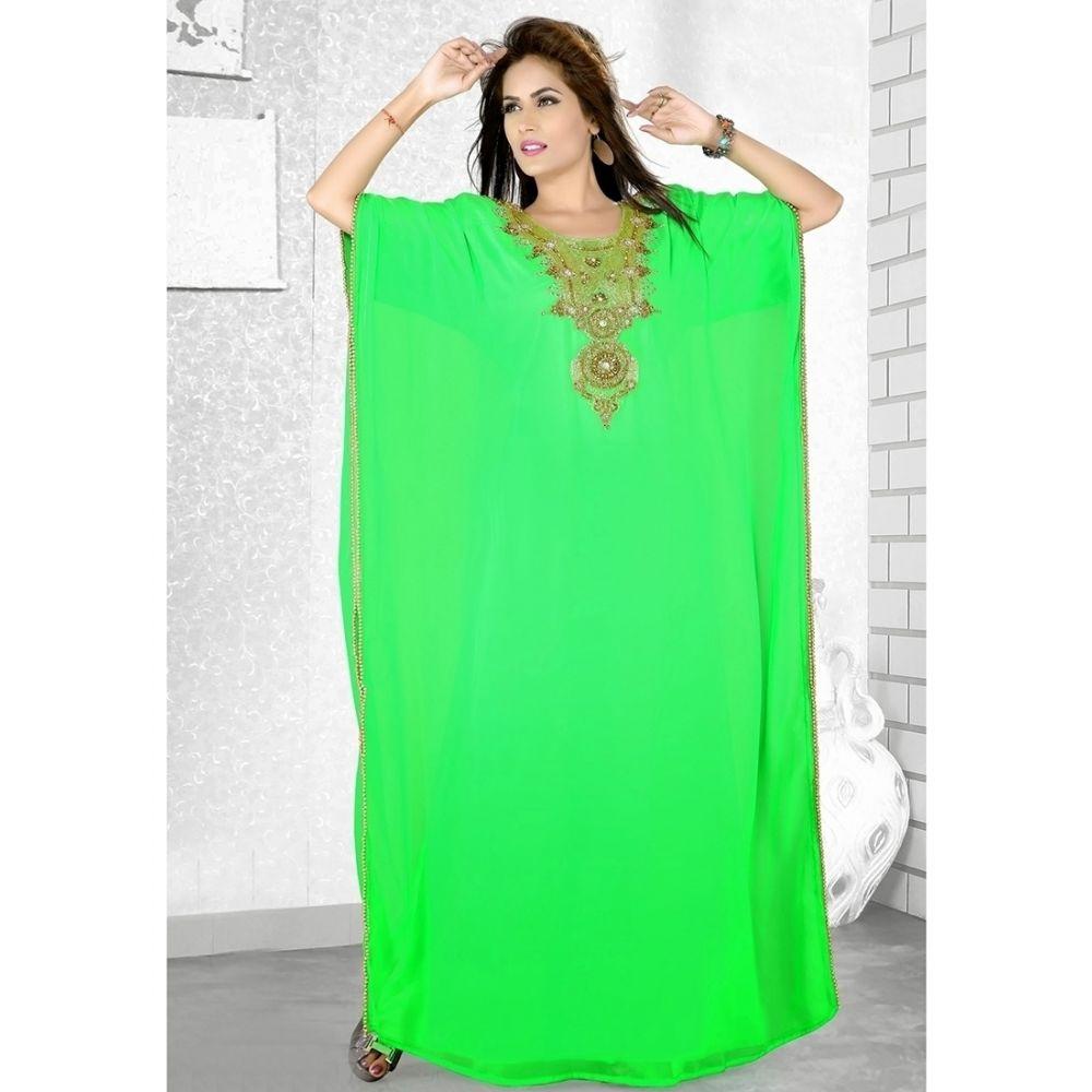 Womens Kaftan Green color Formal Dresses