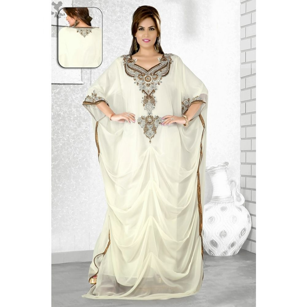Womens Kaftan Off White color Long Partywear