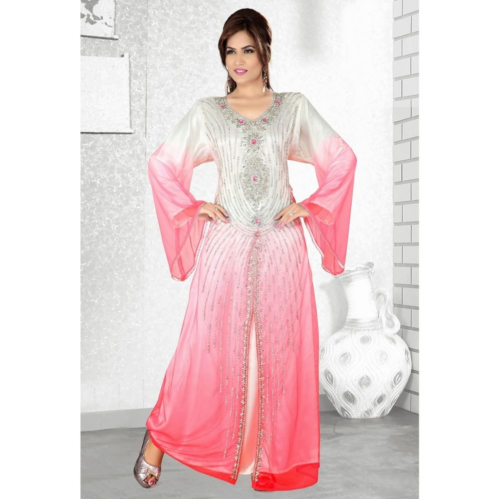Womens Kaftan Pink color Arabic Evening wear
