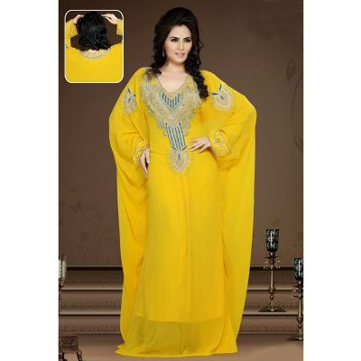 Womens Kaftan Yellow color Arabian Design wear