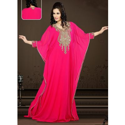 Womens Kaftan Pink color Saudi Arabic style