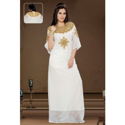 Womens Kaftan White color Arabian Design wear