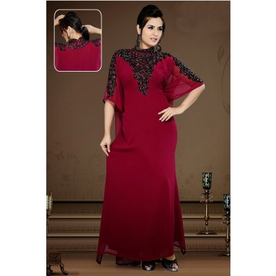 Womens Kaftan Maroon color Long Partywear
