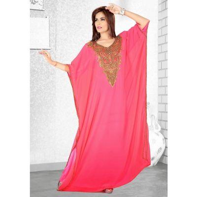 Womens Kaftan Pink color Long Partywear