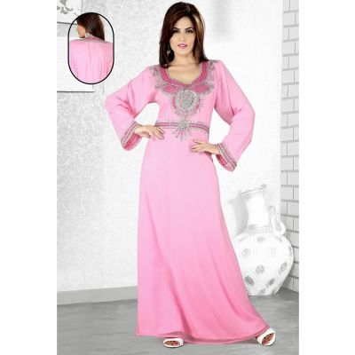 Womens Kaftan Pink color Long Partywear