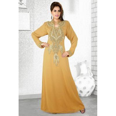 Womens Kaftan Beige color Arabian Design wear