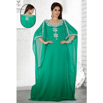 Womens Kaftan Green color Long Partywear