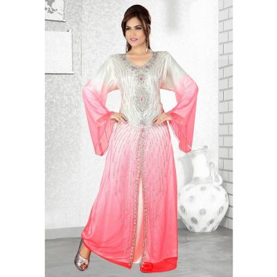 Womens Kaftan Pink color Arabic Evening wear