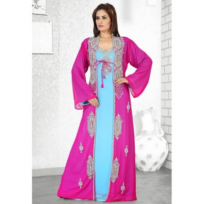 Womens Kaftan Blue color Arabian Design wear