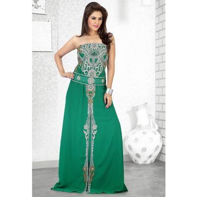 Womens Kaftan Green color Saudi Arabic style