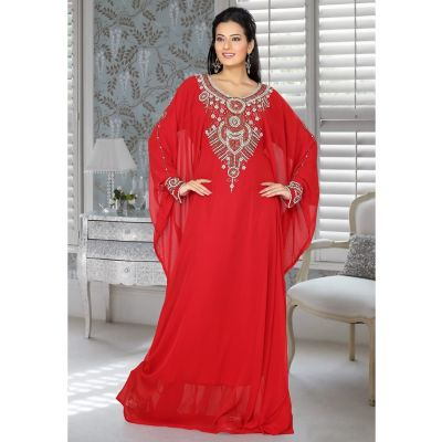 Womens Kaftan Red color Designer wear