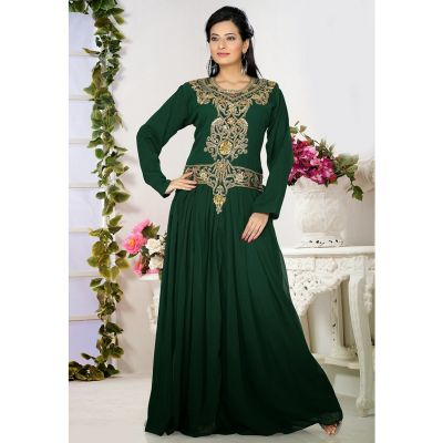 Womens Kaftan Green color Arabic Evening wear