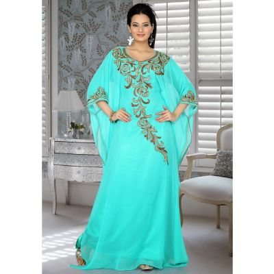 Womens Kaftan Green color Arabic Evening wear