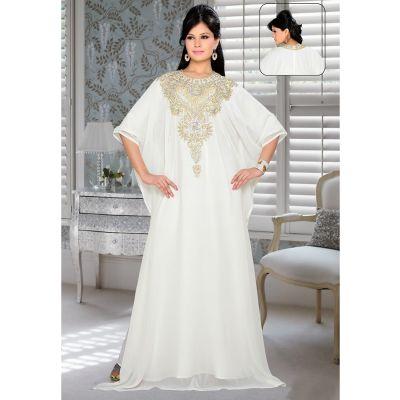 Womens Kaftan Off White color Saudi Arabic style