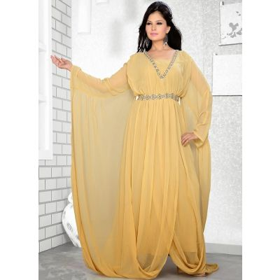 Womens Kaftan Beige color Formal Dresses