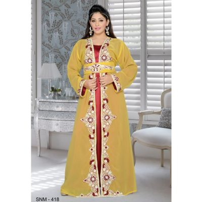 Yellow color Kaftan-Georgette Kaftan
