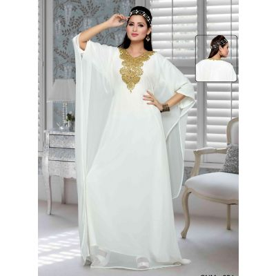 White color Kaftan-Georgette Kaftan