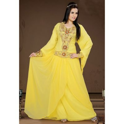 Exquisite Yellow Color Faux Georgette Stylist Caftan