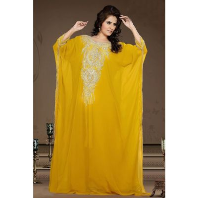 Magnificent Yellow Color Faux Georgette Fashionable Kaftan