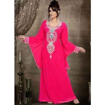 Impressive Pink Color Faux Georgette Stylist Caftan